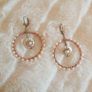 BETSEY JOHNSON // pearl crystal hoop earrings